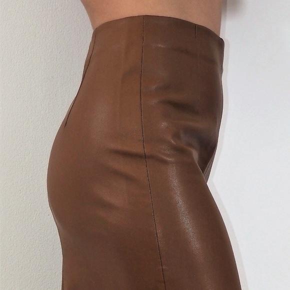 13770a54 Zara Skirts | Brown Faux Leather Pencil Skirt | Poshmark